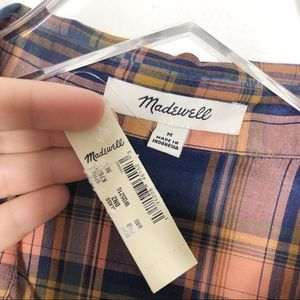 Madewell Tops - Madewell | Central Plaid Tie Front Button Down M